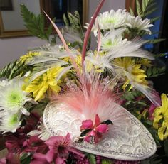 Pink and white Fascinator by Couture Plumes. $120
