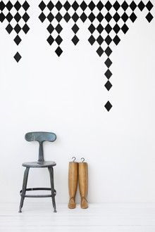 Inspiration for DIY wall stickers - I'm thinking fabric (FermLiving Harlequin - Black)