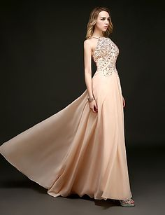 Sheath/Column Halter Floor-length Evening Dress – USD $ 119.99