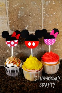 Mickey Mouse Cupcake Toppers Handmade by by LisasHandmadeCards
