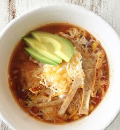 Crock Pot Chicken Tortilla Soup - low fat and low cal. SO GOOD! I cooked this on low for about 9.5 hours since that's how long I was out of the house, and it was delicious. So excited for leftovers!