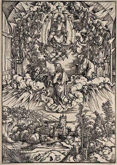 DURER, Albrecht (1471-1528) / The Apocalypse [series] #04 of 16 -- St. John in the Clouds / 1496-98 / woodcut