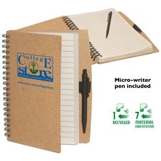 PL-4264 Eco Notebook with Die-Cut Pen, an Eco-Responsible™ product