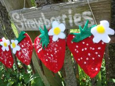 """Strawberry Magnets.  Felt glued on cardboard then dot painted """"seeds"""""""