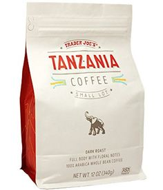Trader Joes Tanzania Whole Bean Coffee African Dark Roast 12 oz Bag Kosher -- Read more at the image link. (This is an affiliate link)