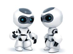 ArtTechLaw, Turing chatterbots, weak AI, robots talking to each other, cute 3D robots