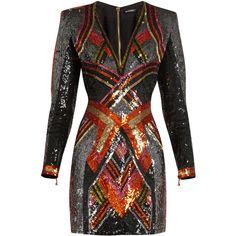 Balmain V-neck sequin-embellished mini dress ($3,740) ❤ liked on Polyvore featuring dresses, plunging v neck dress, embroidery dresses, short dresses, v neck dress and v neck sequin dress