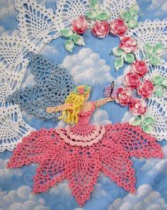 Flower Garden Fairy Doily pdf Crochet Pattern by BellaCrochet Cotton Crochet, Thread Crochet, Filet Crochet, Crochet Motif, Crochet Doilies, Doily Patterns, Flower Patterns, Crochet Patterns, Pattern Flower
