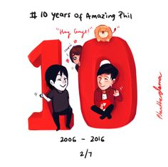 #10 years of Amazing PhilHappy 10th Birthday to @amazingphil 's Channel! Truly an amazing guy ^^ Thank you for always brightening everyone's day with your videos! || this is truly a great picture