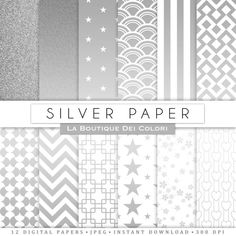 Silver digital paper silver background by LaBoutiqueDeiColori