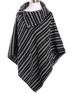 OS Women's Black Striped Buttoned Turtleneck Poncho Coat Top~Cape~Kimono~Jacket #Unbranded #Poncho #Casual