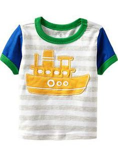 Applique-Graphic Striped Tees for Baby | Old Navy
