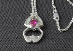 Unique, handmade, contemporary silver scarab pendant, futuristic necklace, embossed pendant, insect necklace, red gem necklace, silver chain