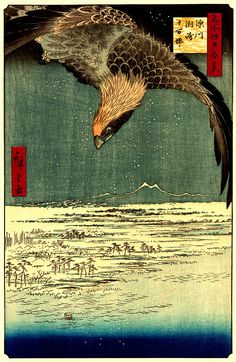 Japanese art, Hiroshige 100 famous views of Edo A hawk flying above a snowy landscape FINE ART PRINT, woodblock print reproduction