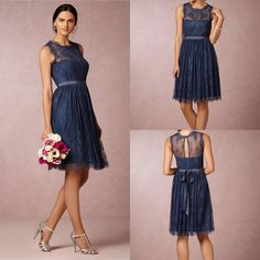 I think both of you would look nice in this dress. What do you think? Wholesale Bridesmaid Dress - Buy Princess Maid of Honor Lace Dark Navy Royal Blue Bridesmaids Dress 2015 Cheap Formal Sexy Short Bridesmaid Dresses Formal Prom Party Gowns, $87.35   DHgate