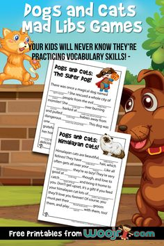 Dogs and Cats Mad Libs Games | Woo! Jr. Kids Activities