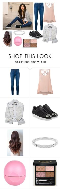 """""""Street style Selena"""" by gallegosrebekah ❤ liked on Polyvore featuring adidas NEO, Frame Denim, Glamorous, Versace, adidas Originals, Michael Kors, River Island and Gucci"""