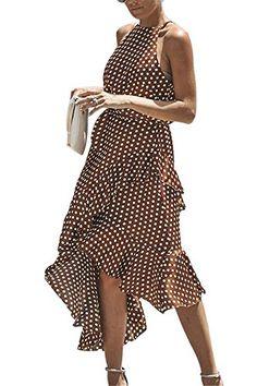 Miss Floral Womens Asymmetric Hem Polkadot Long Dress Size Brown Casual Summer Dresses, Summer Dresses For Women, Dress Summer, Fashion Terms, Diva Fashion, Style Inspiration, Women's Dresses, Outfits, Polka Dots