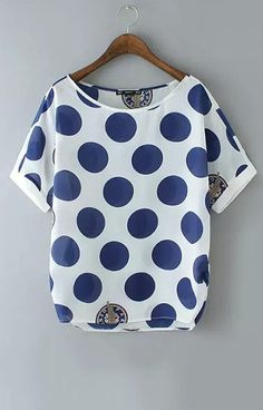 Specifications: Decoration:None Clothing Length:Regular Pattern Type:Polka Dot Sleeve Style:Regular Fabric Type:Chiffon Material:Polyester Collar:O-Neck Color Style:Natural Color Sleeve Length:Short S