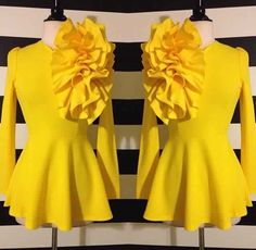 Ooh the drama! Yellow Fashion, I Love Fashion, Modest Fashion, Fashion Dresses, African Attire, African Dress, Church Fashion, Africa Fashion, Classy Outfits