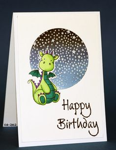 MFT My Favorite Things Magical dragons. COlored with Spectrum Noir markers. Distress ink blended night sky and Hero Arts tiny stars background stamp. Impression Obsession stamp Happy Birthday