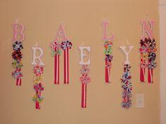 Wooden Letter Hair Bow Hanger    http://korkerkrazy.storenvy.com/products/363343-wooden-letter-hair-bow-holder
