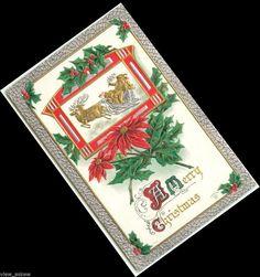 C267 GOLD SANTA & REINDEER RIDE SILVER SLEIGH EMB MERRY CHRISTMAS 1910 POSTCARD #Christmas