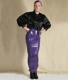 Black-satin-blouse-with-purple-hobble-skirt-opt