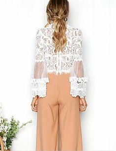 Sweet Fashion See-through Back Zipper Flare Sleeve White Lace Blouse White Lace Blouse, Ruffle Blouse, Bell Sleeve Crop Top, Coat Sale, Sweet Style, Blouse Styles, Summer Outfits, Crop Tops, Elegant