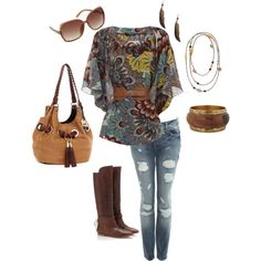 A Boho Brown Day Outfit, created by juarezcourtney on Polyvore