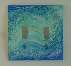 Double Switch Plate Painted with Alcohol Ink Blue Ocean Waves - B116