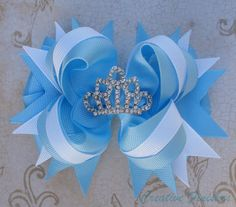 Cinderella Hair Bow Tiara Rhinestone by CreativeFinishesBows, $9.00 <-- Shoot.  I want this for me LOL