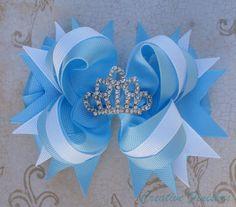 Val  - Cinderella Hair Bow Tiara Rhinestone by CreativeFinishesBows, $9.00
