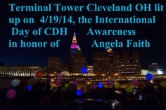 Tower Light, Pink Blue, Yellow, Hernia, International Day, Local News, Cleveland, Faith, Lighting