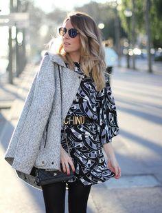 A printed dress and Moschino belt | Fashiolista.com