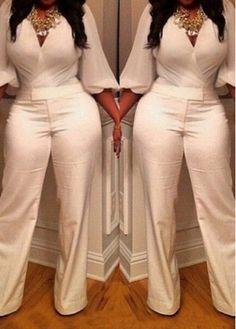 fa3adadeefda V Neck Lantern Sleeve White Jumpsuit on sale only US 25.46 now