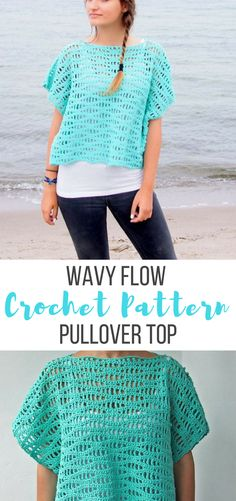 This is a crochet pattern for FLOW sweater top . Wonderful all seasons top or cover up