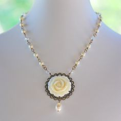 Vintage Style Ivory Rose and Ivory Swarovski Pearl by RusticGem, $55.00