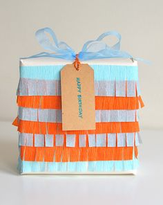DIY Crepe paper gift wrapping