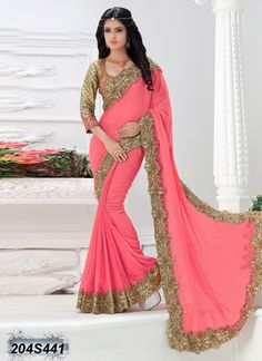 Buy Luscious Pink Colored Crushed Georgette Embroidered Designer Saree Get 30% Off on Designer Sarees From Leemboodi Fashion with Free Shipping in INDIA Use Coupon Code: RAKHI15 to Get 15% off on Every Product of Leemboodi Fashion Now Available on Cash On Delivery
