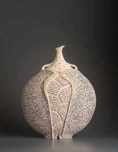 Avital Sheffer Redoma II  dry-glazed and printed earthenware clay with gold lustre Copyright © Avital Sheffer