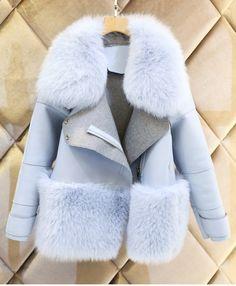 new womens blue fur collar Jacket Coat outwear wool blend trench winter parkas Winter Coats Women, Coats For Women, Winter Jackets, Clothes For Women, Winter Tops, Fur Fashion, Look Fashion, Fashion Women, Fashion Online