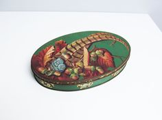 Vintage 1950s oval tin can box, Cote d'Or Belgium Belgian chocolates, fall acorn feather design, brown, green Length 11.4 in / 29 cm