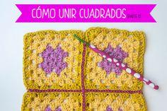 como-unir-grannies-punto-raso Crochet Squares, Crochet Motif, Patron Crochet, Slip Stitch, Mittens, Wool, Blanket, Knitting, Crochet Projects