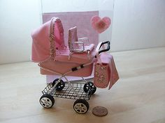 b'ful pram for your own precious little OOAK baby, gift box  1/12, dolls house p