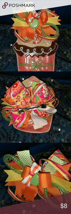 Beautiful boutique style hair bow Green pink orange yellow and white boutique style hair bow handcrafted 3 1/2 yards of ribbon Handcrafted Accessories Hair Accessories