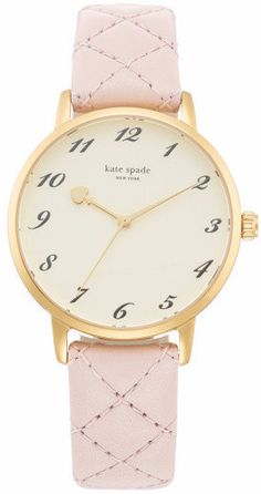 Whether you're heading uptown or downtown, you'll look cosmopolitan in this Metro watch from kate spade new york. Brand: Kate Spade Gender: Women Dial Color: Cream Band Color: Light Pink Band Material