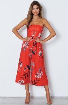 Haven Jumpsuit Red Floral Strapless Dress Formal, Prom Dresses, Formal Dresses, Red Jumpsuit, Long Jumpsuits, Formal Wear, Chic Outfits, Night Out, Glamour