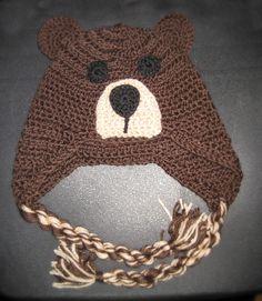 brown bear crochet hat