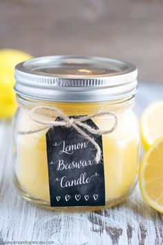 DIY Lemon Beeswax Candle - A cute idea for friends that love candles